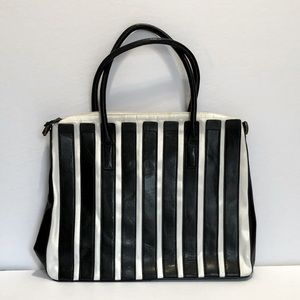 ALFRED SUNG B&W leather nylon handbag GUC